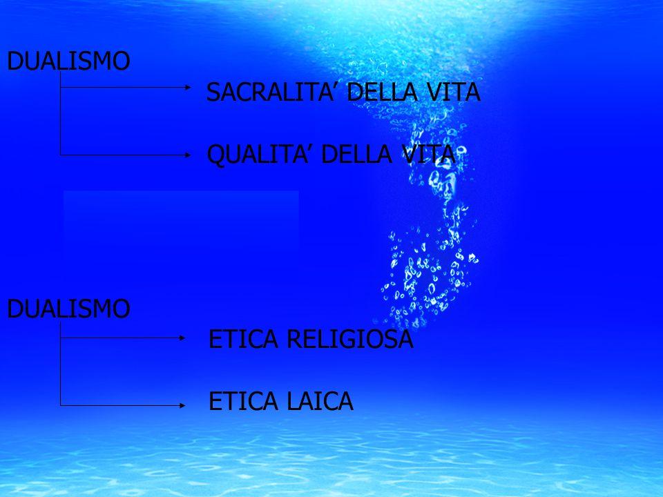 DUALISMO SACRALITA' DELLA VITA QUALITA' DELLA VITA DUALISMO ETICA RELIGIOSA ETICA LAICA