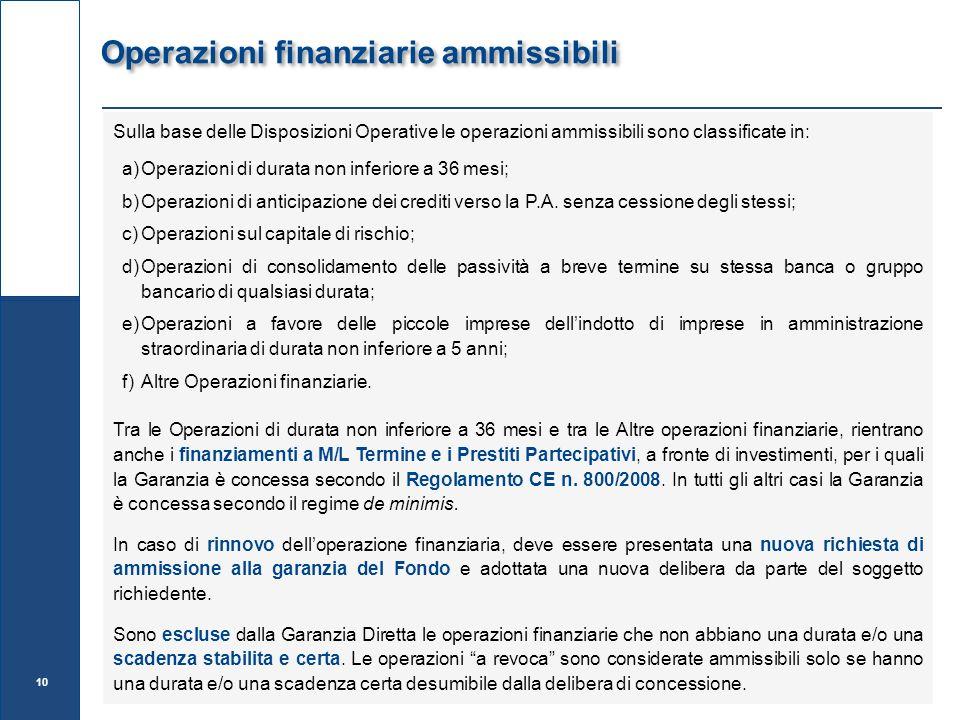 Operazioni finanziarie ammissibili Sulla base delle Disposizioni Operative le operazioni ammissibili sono classificate in: a)Operazioni di durata non inferiore a 36 mesi; b)Operazioni di anticipazione dei crediti verso la P.A.