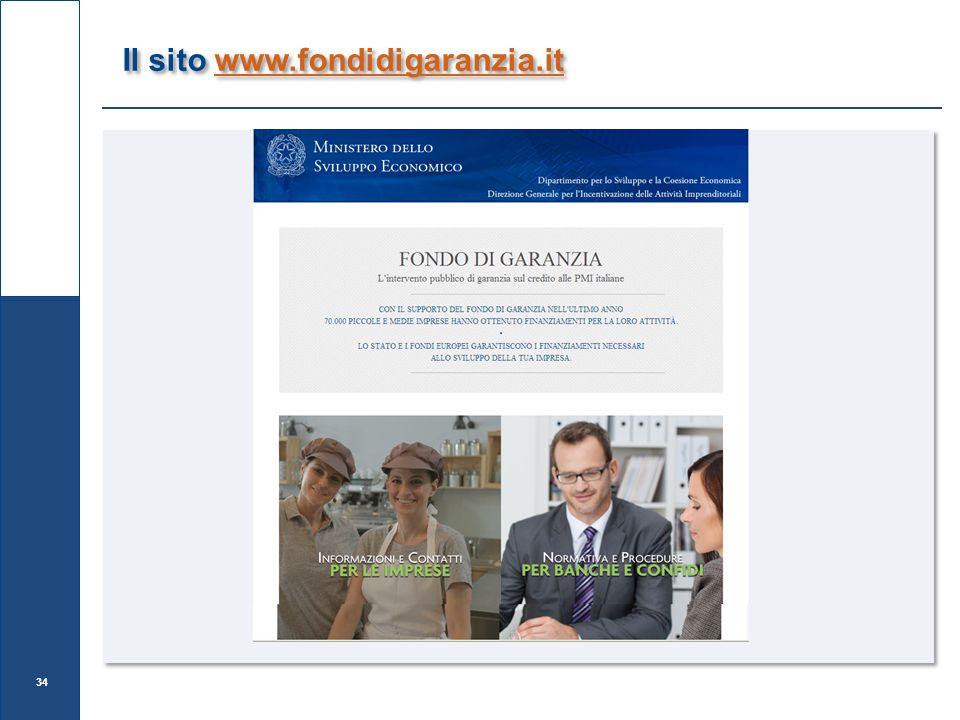 Il sito www.fondidigaranzia.itwww.fondidigaranzia.it Il sito www.fondidigaranzia.itwww.fondidigaranzia.it 34