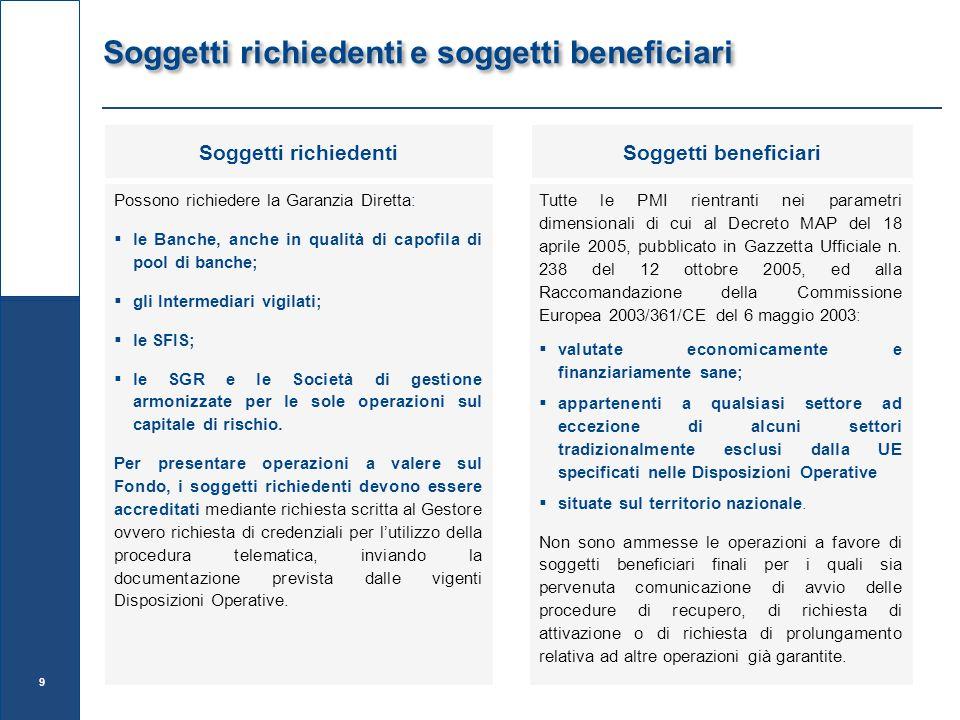Soggetti richiedenti e soggetti beneficiari Possono richiedere la Garanzia Diretta:  le Banche, anche in qualità di capofila di pool di banche;  gli Intermediari vigilati;  le SFIS;  le SGR e le Società di gestione armonizzate per le sole operazioni sul capitale di rischio.