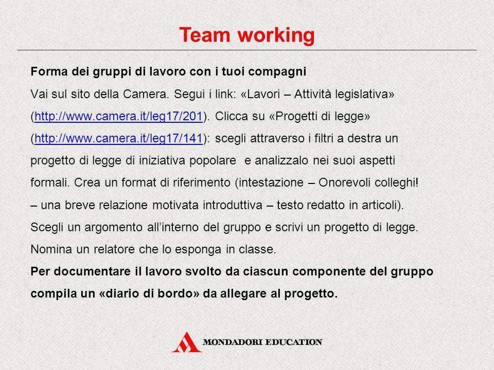 Forma dei gruppi di lavoro con i tuoi compagni Vai sul sito della Camera. Segui i link: «Lavori – Attività legislativa» (http://www.camera.it/leg17/20