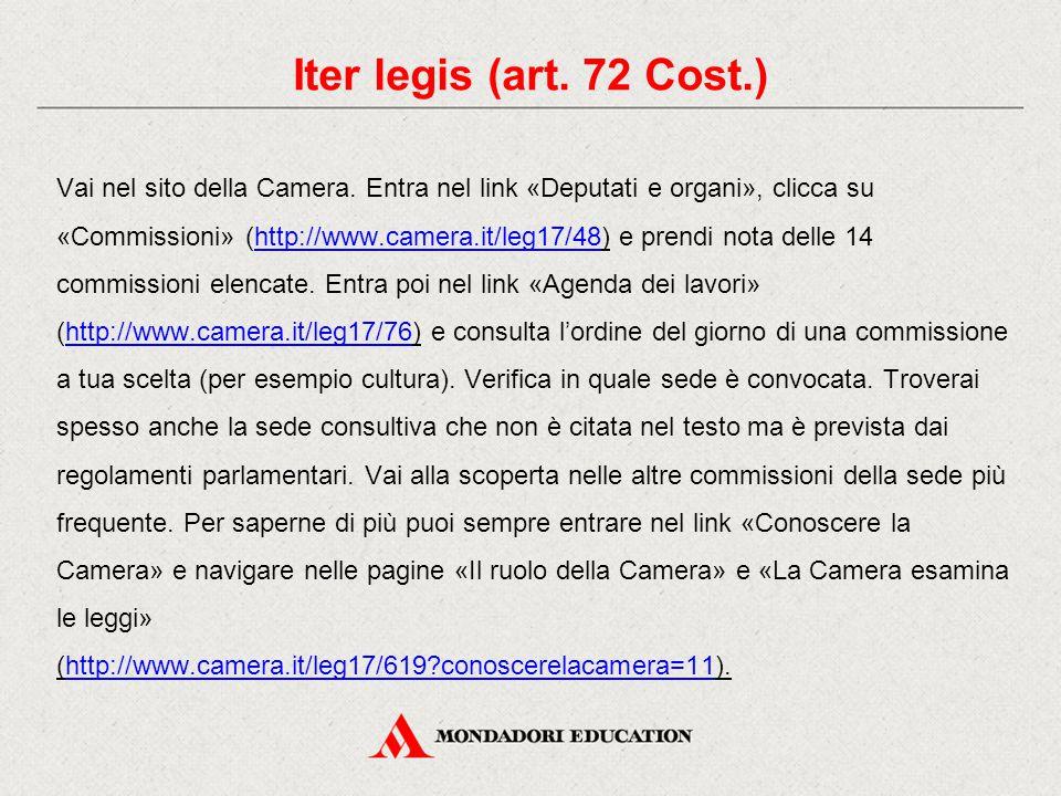 Vai nel sito della Camera. Entra nel link «Deputati e organi», clicca su «Commissioni» (http://www.camera.it/leg17/48) e prendi nota delle 14 commissi