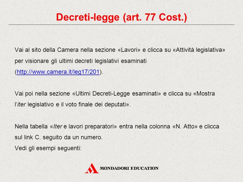 Vai al sito della Camera nella sezione «Lavori» e clicca su «Attività legislativa» per visionare gli ultimi decreti legislativi esaminati (http://www.