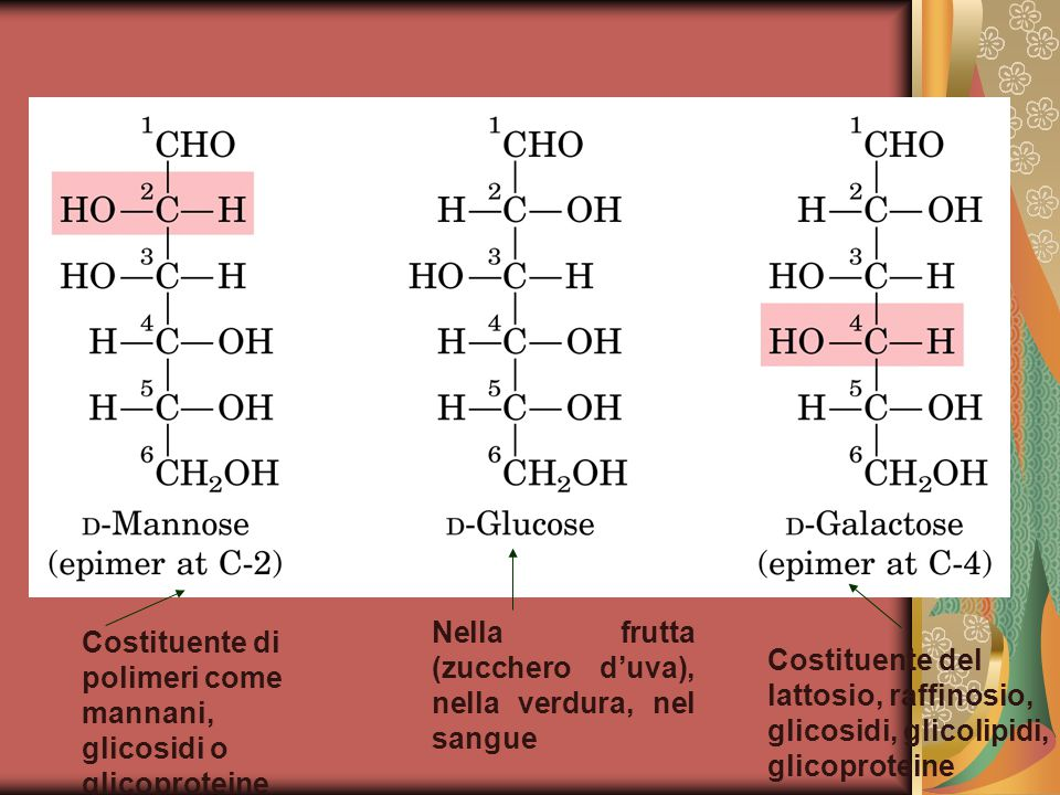 Nella frutta (zucchero d'uva), nella verdura, nel sangue Costituente di polimeri come mannani, glicosidi o glicoproteine Costituente del lattosio, raffinosio, glicosidi, glicolipidi, glicoproteine