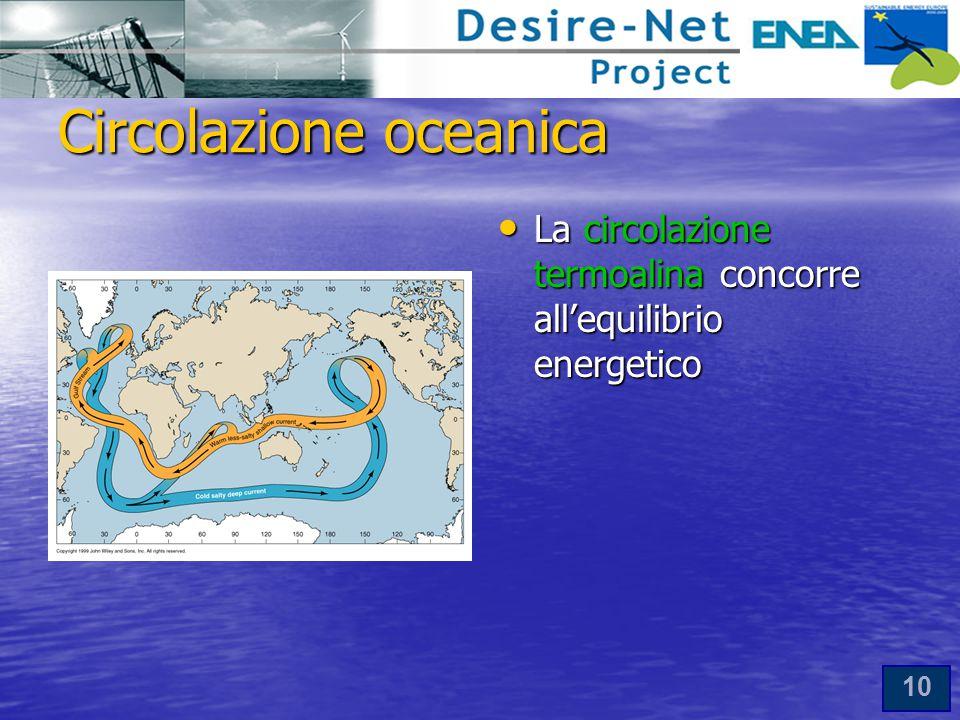 10 Circolazione oceanica La circolazione termoalina concorre all'equilibrio energetico La circolazione termoalina concorre all'equilibrio energetico