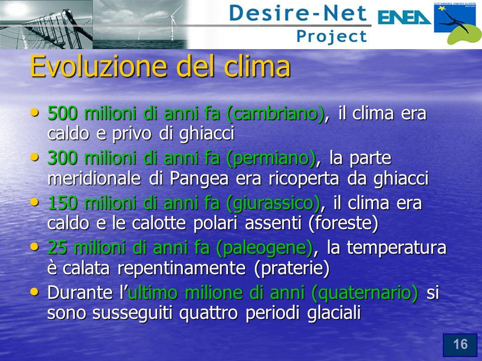 16 Evoluzione del clima 500 milioni di anni fa (cambriano), il clima era caldo e privo di ghiacci 500 milioni di anni fa (cambriano), il clima era caldo e privo di ghiacci 300 milioni di anni fa (permiano), la parte meridionale di Pangea era ricoperta da ghiacci 300 milioni di anni fa (permiano), la parte meridionale di Pangea era ricoperta da ghiacci 150 milioni di anni fa (giurassico), il clima era caldo e le calotte polari assenti (foreste) 150 milioni di anni fa (giurassico), il clima era caldo e le calotte polari assenti (foreste) 25 milioni di anni fa (paleogene), la temperatura è calata repentinamente (praterie) 25 milioni di anni fa (paleogene), la temperatura è calata repentinamente (praterie) Durante l'ultimo milione di anni (quaternario) si sono susseguiti quattro periodi glaciali Durante l'ultimo milione di anni (quaternario) si sono susseguiti quattro periodi glaciali