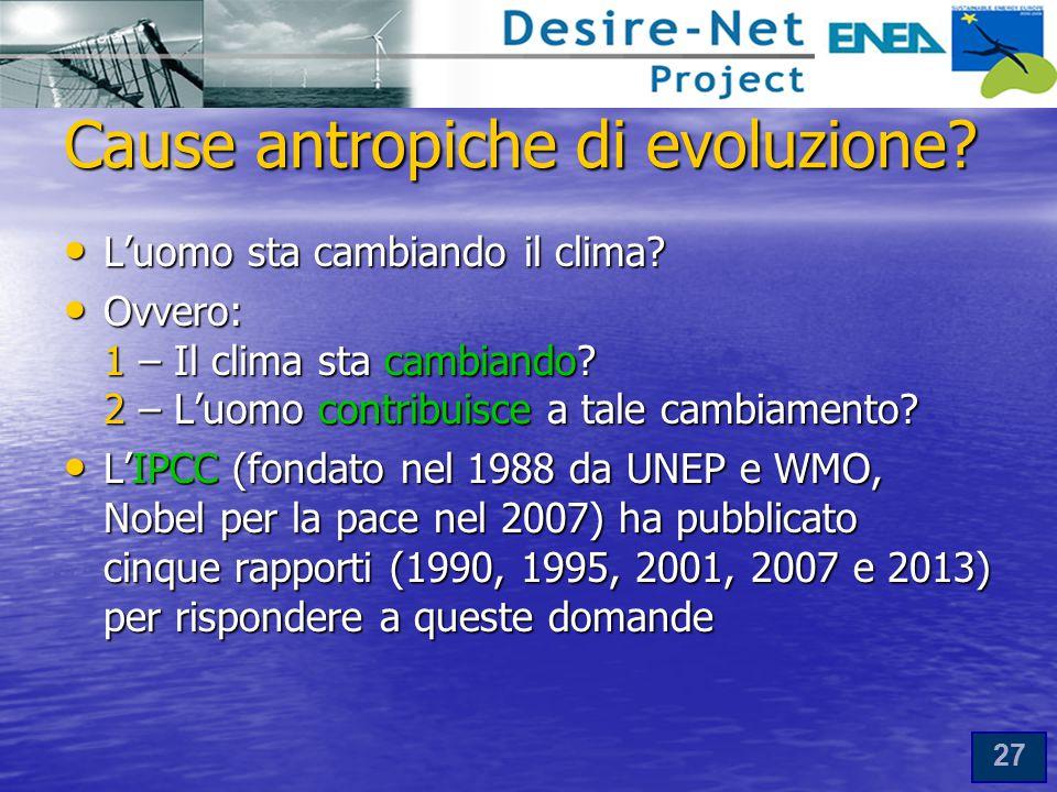 27 Cause antropiche di evoluzione.L'uomo sta cambiando il clima.
