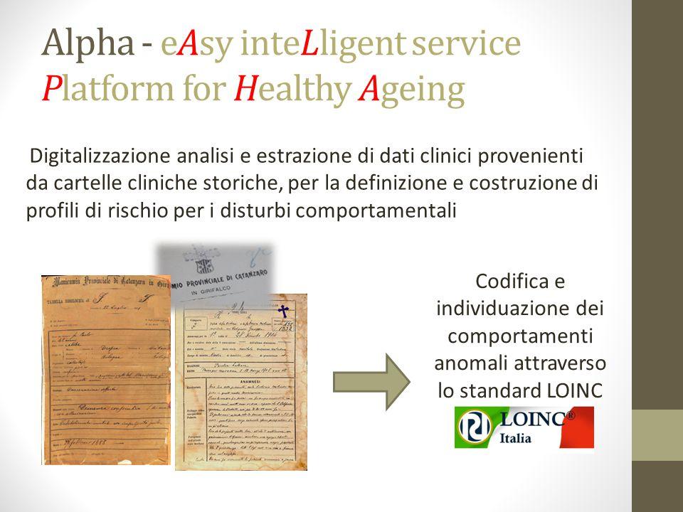 Alpha - eAsy inteLligent service Platform for Healthy Ageing Digitalizzazione analisi e estrazione di dati clinici provenienti da cartelle cliniche storiche, per la definizione e costruzione di profili di rischio per i disturbi comportamentali Codifica e individuazione dei comportamenti anomali attraverso lo standard LOINC