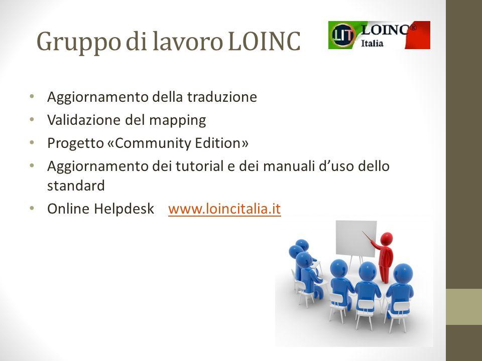 Gruppo di lavoro LOINC Aggiornamento della traduzione Validazione del mapping Progetto «Community Edition» Aggiornamento dei tutorial e dei manuali d'uso dello standard Online Helpdesk www.loincitalia.itwww.loincitalia.it