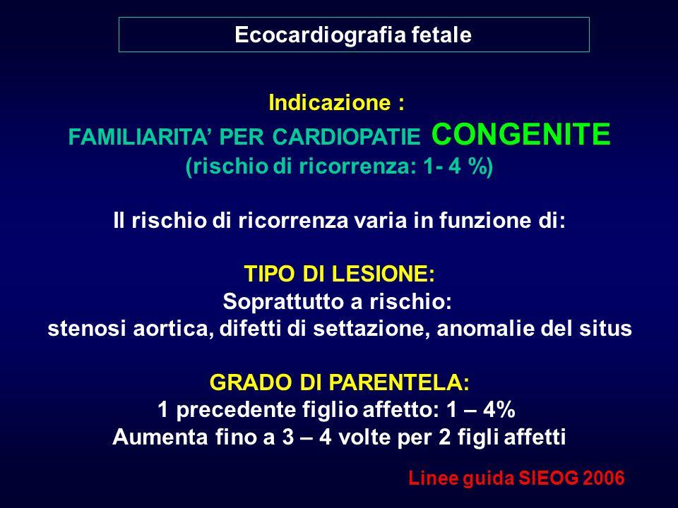 Ecocardiografia fetale Indicazione : FAMILIARITA' PER CARDIOPATIE CONGENITE (rischio di ricorrenza: 1- 4 %) Il rischio di ricorrenza varia in funzione di: TIPO DI LESIONE: Soprattutto a rischio: stenosi aortica, difetti di settazione, anomalie del situs GRADO DI PARENTELA: 1 precedente figlio affetto: 1 – 4% Aumenta fino a 3 – 4 volte per 2 figli affetti Linee guida SIEOG 2006