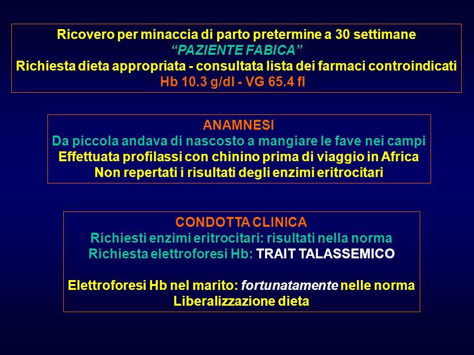 Gravidanza a 25 settimane; paziente di 34 anni Hb 8.2 g/dl - VG 64.8 fl - sideremia 21 mcg/dl Ernia jatale; pregressa ulcerazione antrale PORTATRICE DI TRAIT TALASSEMICO ANAMNESI A 6 anni: Hb 12.7 g/dl A 17 anni: Hb 9.9 g/dl - VG 50 fl - sideremia 20 mcg/dl Richiesta elettroforesi Hb: non repertati i risultati GESTIONE CLINICA Richiesta elettroforesi Hb: risultati nella norma Terapia marziale Dopo 30 giorni: Hb 12.2 g/dl
