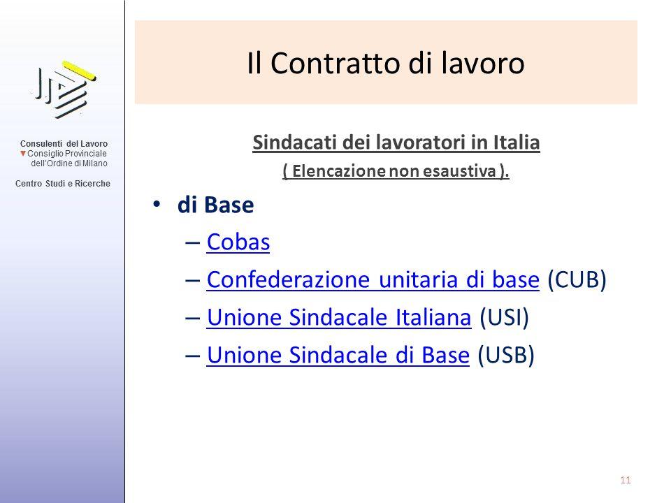 Il Contratto di lavoro Sindacati dei lavoratori in Italia ( Elencazione non esaustiva ). di Base – Cobas Cobas – Confederazione unitaria di base (CUB)