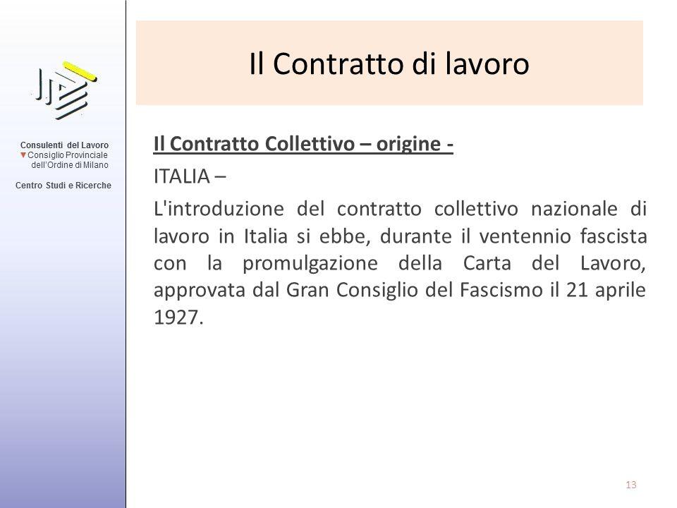 Il Contratto di lavoro Il Contratto Collettivo – origine - ITALIA – L'introduzione del contratto collettivo nazionale di lavoro in Italia si ebbe, dur
