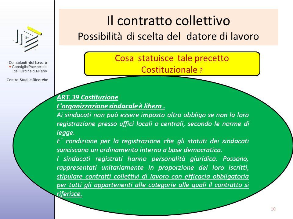 Il contratto collettivo Possibilità di scelta del datore di lavoro Cosa statuisce tale precetto Costituzionale ? ART. 39 Costituzione L'organizzazione