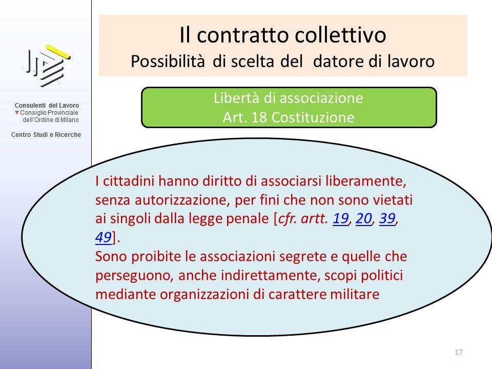 Il contratto collettivo Possibilità di scelta del datore di lavoro Libertà di associazione Art. 18 Costituzione I cittadini hanno diritto di associars