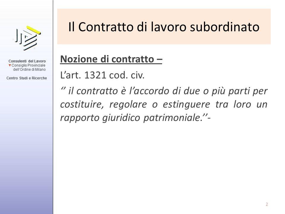 Il Contratto di lavoro subordinato Nozione di contratto – L'art. 1321 cod. civ. '' il contratto è l'accordo di due o più parti per costituire, regolar