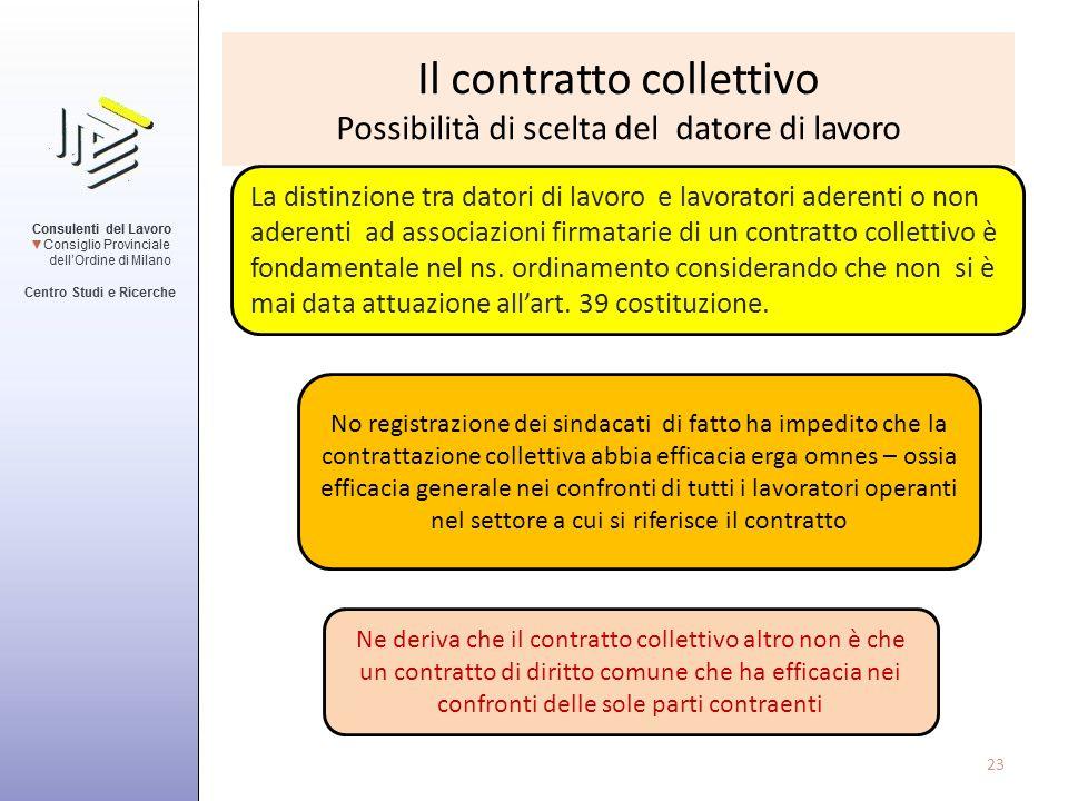 Il contratto collettivo Possibilità di scelta del datore di lavoro La distinzione tra datori di lavoro e lavoratori aderenti o non aderenti ad associa
