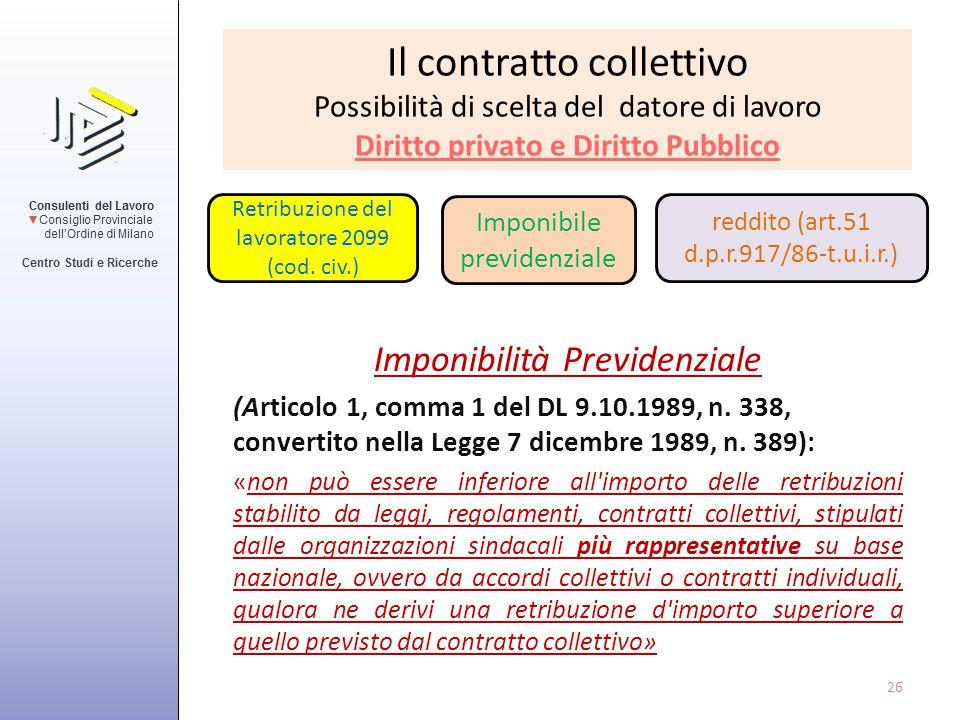 Il contratto collettivo Possibilità di scelta del datore di lavoro Diritto privato e Diritto Pubblico Imponibilità Previdenziale (Articolo 1, comma 1