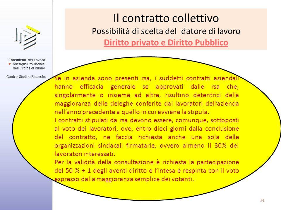 Il contratto collettivo Possibilità di scelta del datore di lavoro Diritto privato e Diritto Pubblico Se in azienda sono presenti rsa, i suddetti cont