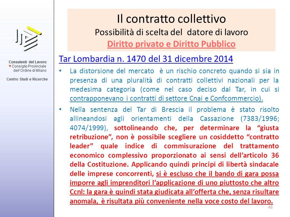 Il contratto collettivo Possibilità di scelta del datore di lavoro Diritto privato e Diritto Pubblico Tar Lombardia n. 1470 del 31 dicembre 2014 La di