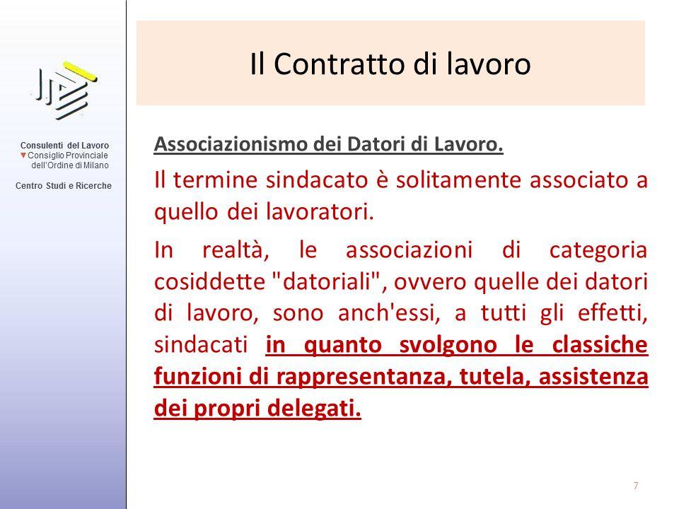 Il Contratto di lavoro Associazionismo dei Datori di Lavoro. Il termine sindacato è solitamente associato a quello dei lavoratori. In realtà, le assoc