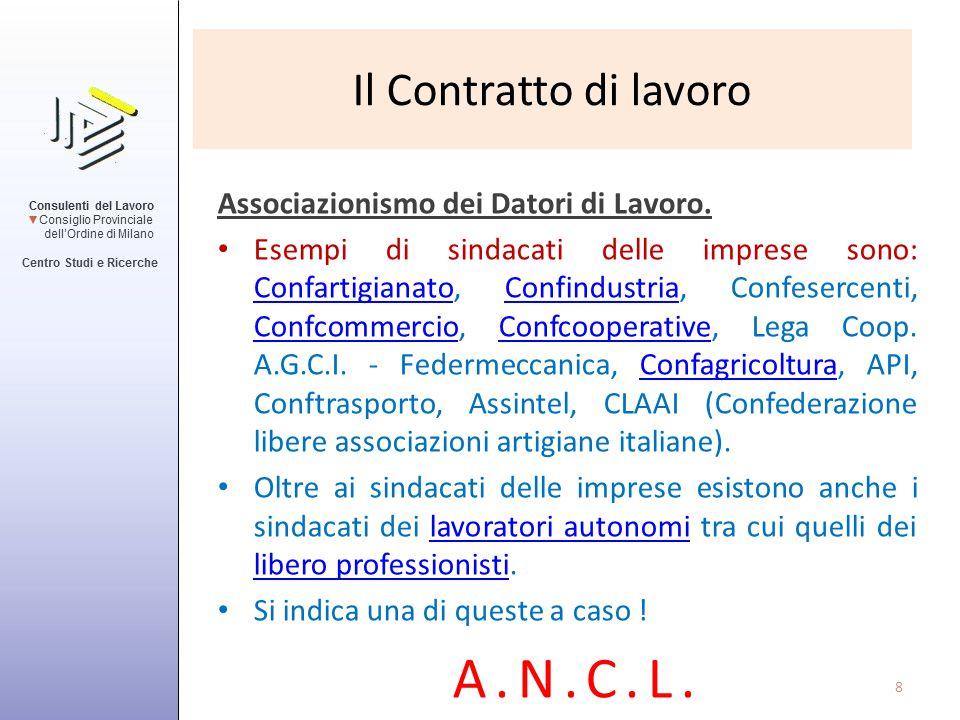 Il Contratto di lavoro Sindacati dei lavoratori in Italia ( Elencazione non esaustativa ).