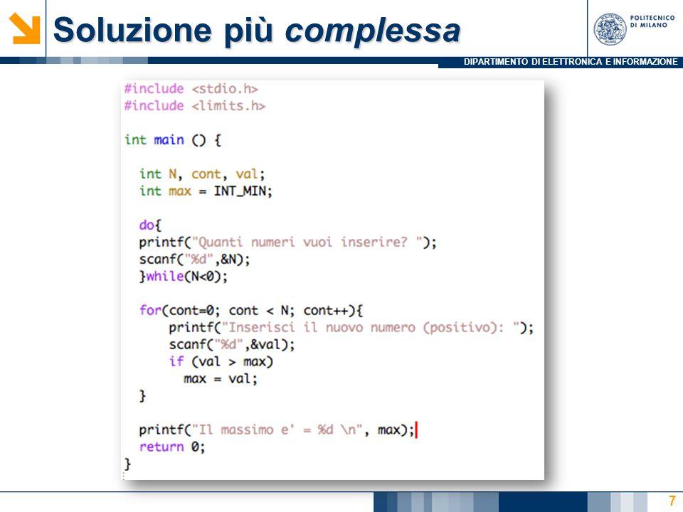 DIPARTIMENTO DI ELETTRONICA E INFORMAZIONE 28 Problema: sequenza di interi Mostrare una sequenza di 10 interi nell ordine inverso rispetto a quello con cui è stata introdotta dall'utente  Con un array?...