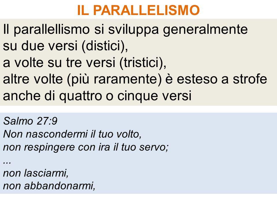 IL PARALLELISMO Il parallellismo si sviluppa generalmente su due versi (distici), a volte su tre versi (tristici), altre volte (più raramente) è estes