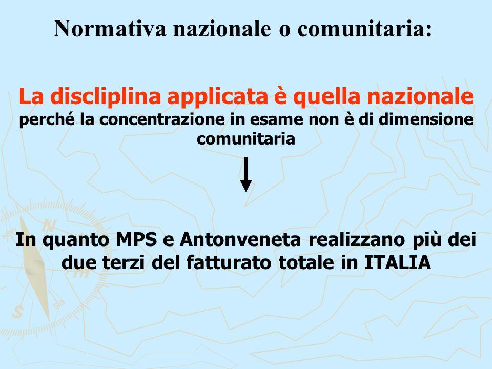 Normativa nazionale o comunitaria: In quanto MPS e Antonveneta realizzano più dei due terzi del fatturato totale in ITALIA La discliplina applicata è quella nazionale perché la concentrazione in esame non è di dimensione comunitaria