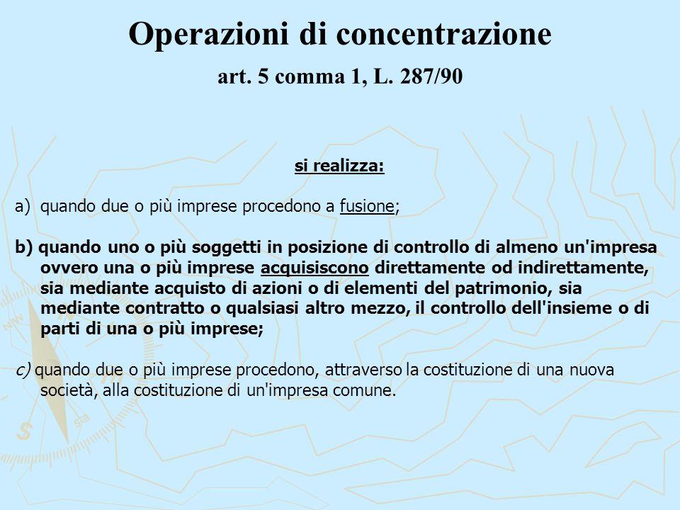 Operazioni di concentrazione art. 5 comma 1, L.