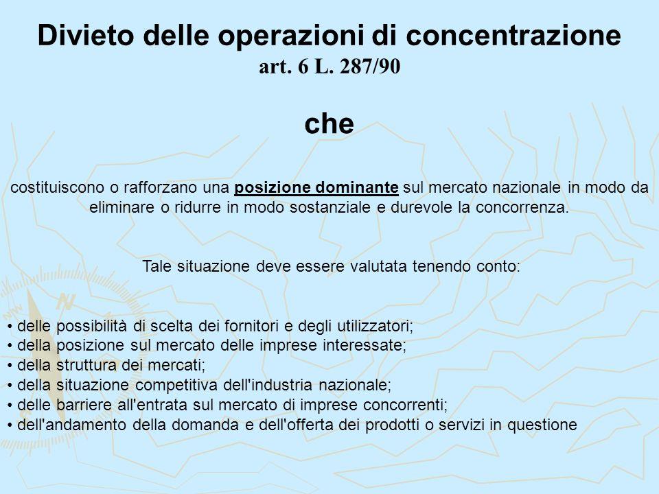 Divieto delle operazioni di concentrazione art. 6 L. 287/90 costituiscono o rafforzano una posizione dominante sul mercato nazionale in modo da elimin