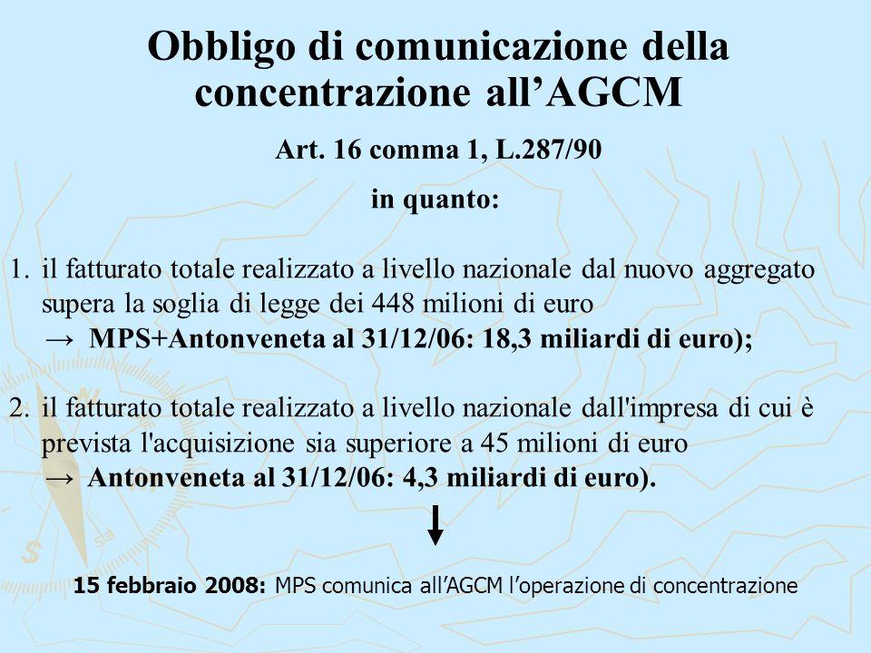 Obbligo di comunicazione della concentrazione all'AGCM Art. 16 comma 1, L.287/90 in quanto: 1.il fatturato totale realizzato a livello nazionale dal n