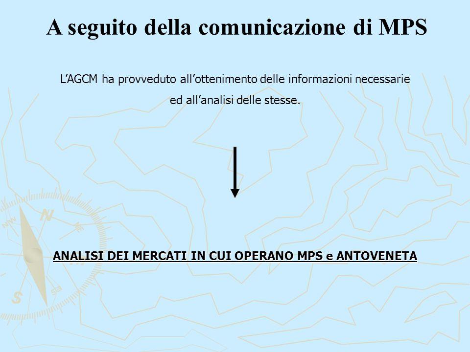A seguito della comunicazione di MPS L'AGCM ha provveduto all'ottenimento delle informazioni necessarie ed all'analisi delle stesse. ANALISI DEI MERCA