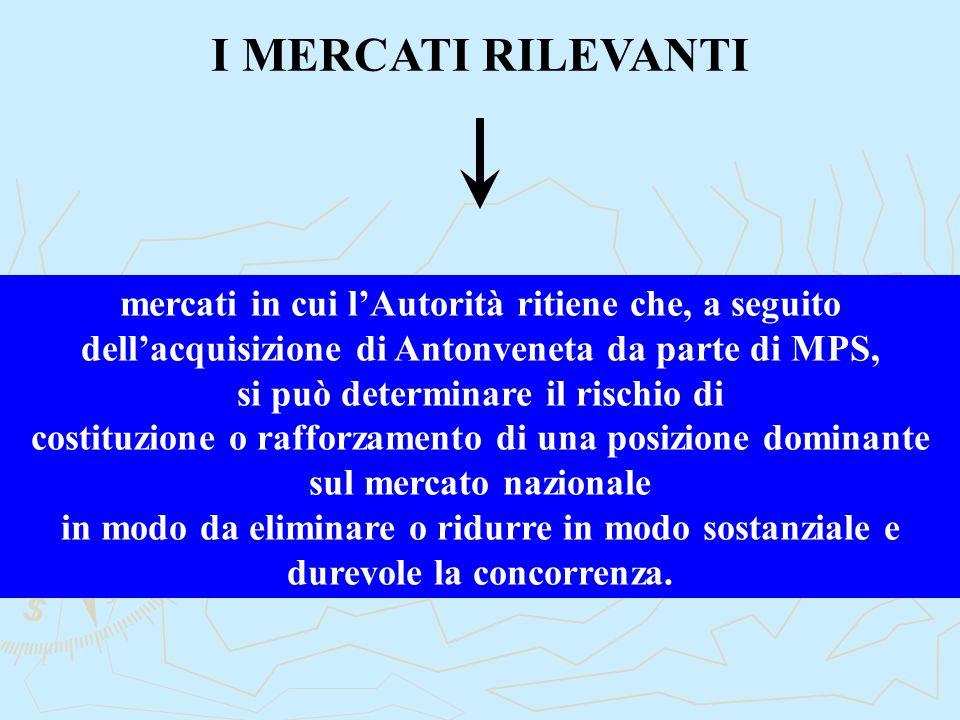 I MERCATI RILEVANTI mercati in cui l'Autorità ritiene che, a seguito dell'acquisizione di Antonveneta da parte di MPS, si può determinare il rischio d