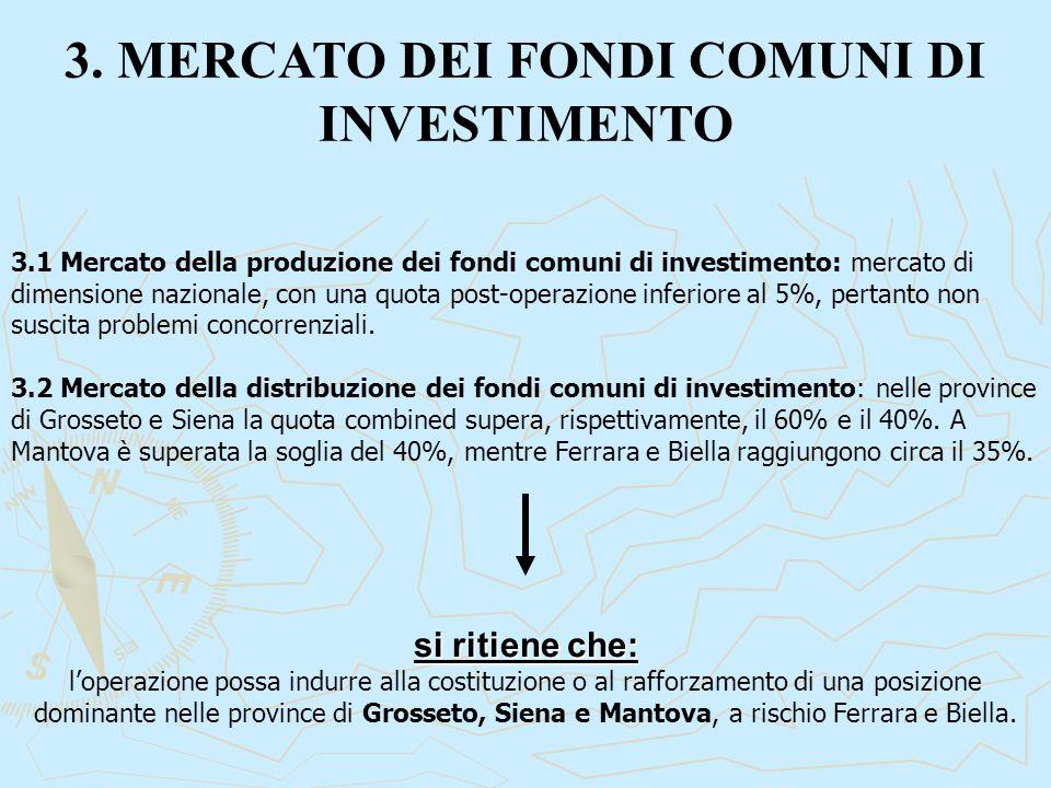 3. MERCATO DEI FONDI COMUNI DI INVESTIMENTO 3.1 Mercato della produzione dei fondi comuni di investimento: mercato di dimensione nazionale, con una qu