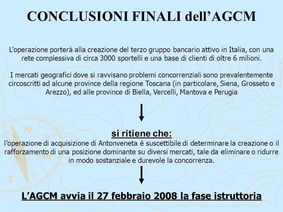 CONCLUSIONI FINALI dell'AGCM si ritiene che: l'operazione di acquisizione di Antonveneta è suscettibile di determinare la creazione o il rafforzamento