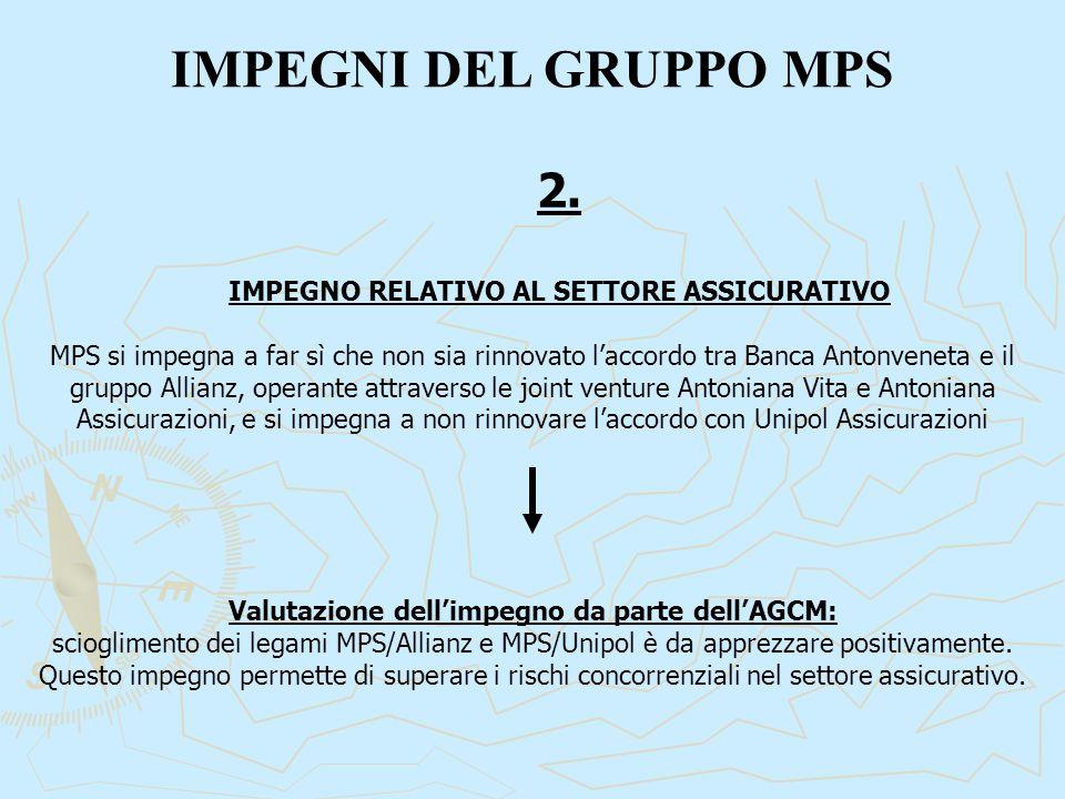 IMPEGNI DEL GRUPPO MPS 2. IMPEGNO RELATIVO AL SETTORE ASSICURATIVO MPS si impegna a far sì che non sia rinnovato l'accordo tra Banca Antonveneta e il