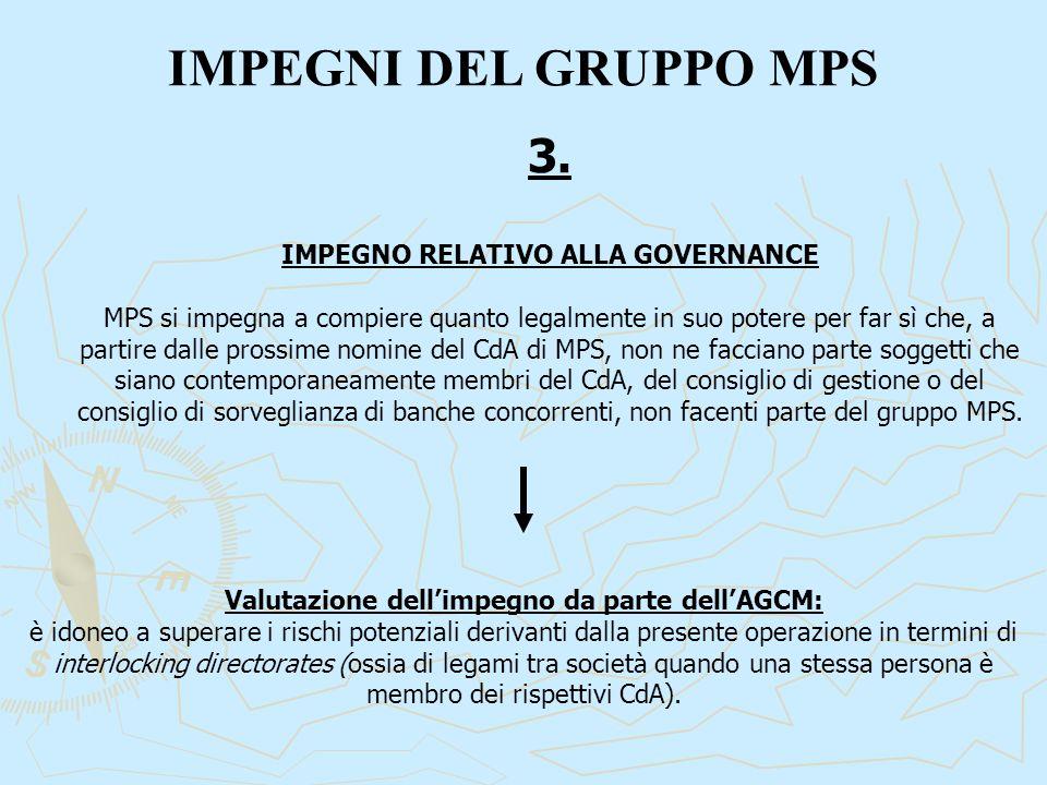 IMPEGNI DEL GRUPPO MPS 3. IMPEGNO RELATIVO ALLA GOVERNANCE MPS si impegna a compiere quanto legalmente in suo potere per far sì che, a partire dalle p