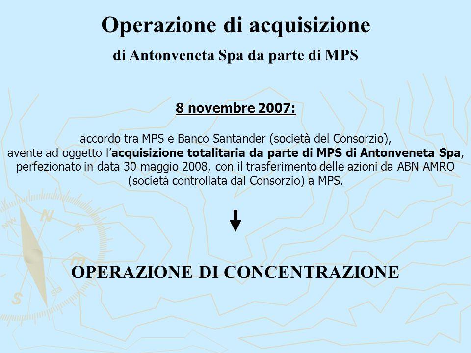 Operazione di acquisizione di Antonveneta Spa da parte di MPS 8 novembre 2007: accordo tra MPS e Banco Santander (società del Consorzio), avente ad oggetto l'acquisizione totalitaria da parte di MPS di Antonveneta Spa, perfezionato in data 30 maggio 2008, con il trasferimento delle azioni da ABN AMRO (società controllata dal Consorzio) a MPS.