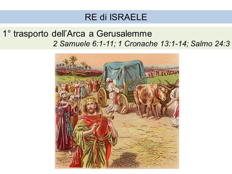 RE di ISRAELE 1° trasporto dell'Arca a Gerusalemme 2 Samuele 6:1-11; 1 Cronache 13:1-14; Salmo 24:3