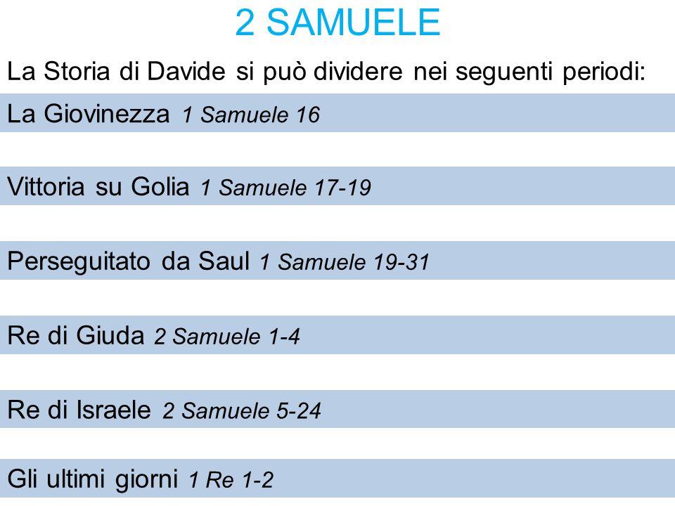 2 SAMUELE La Storia di Davide si può dividere nei seguenti periodi: La Giovinezza 1 Samuele 16 Vittoria su Golia 1 Samuele 17-19 Perseguitato da Saul 1 Samuele 19-31 Re di Giuda 2 Samuele 1-4 Re di Israele 2 Samuele 5-24 Gli ultimi giorni 1 Re 1-2