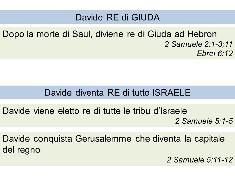 Davide RE di GIUDA Dopo la morte di Saul, diviene re di Giuda ad Hebron 2 Samuele 2:1-3;11 Ebrei 6:12 Davide viene eletto re di tutte le tribu d'Israele 2 Samuele 5:1-5 Davide conquista Gerusalemme che diventa la capitale del regno 2 Samuele 5:11-12 Davide diventa RE di tutto ISRAELE
