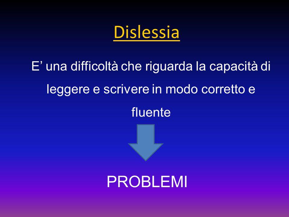 Dislessia E' una difficoltà che riguarda la capacità di leggere e scrivere in modo corretto e fluente PROBLEMI