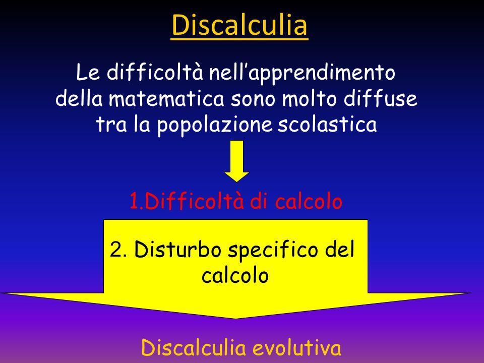 Le difficoltà nell'apprendimento della matematica sono molto diffuse tra la popolazione scolastica 1.Difficoltà di calcolo 2.