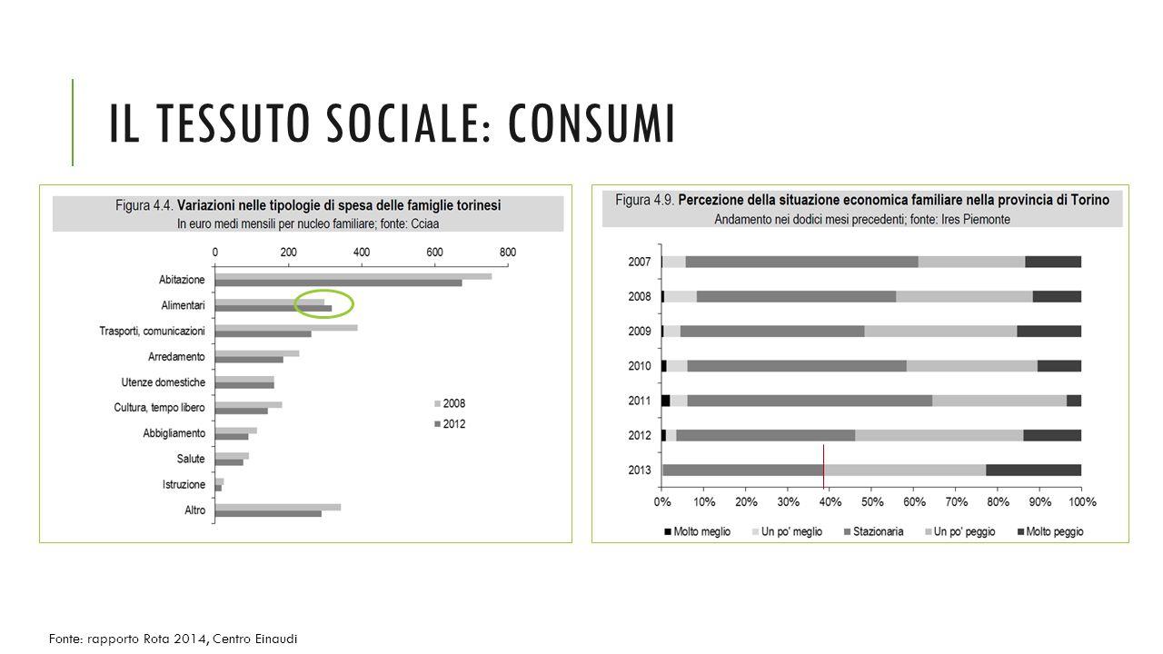 IL TESSUTO SOCIALE: CONSUMI Fonte: rapporto Rota 2014, Centro Einaudi