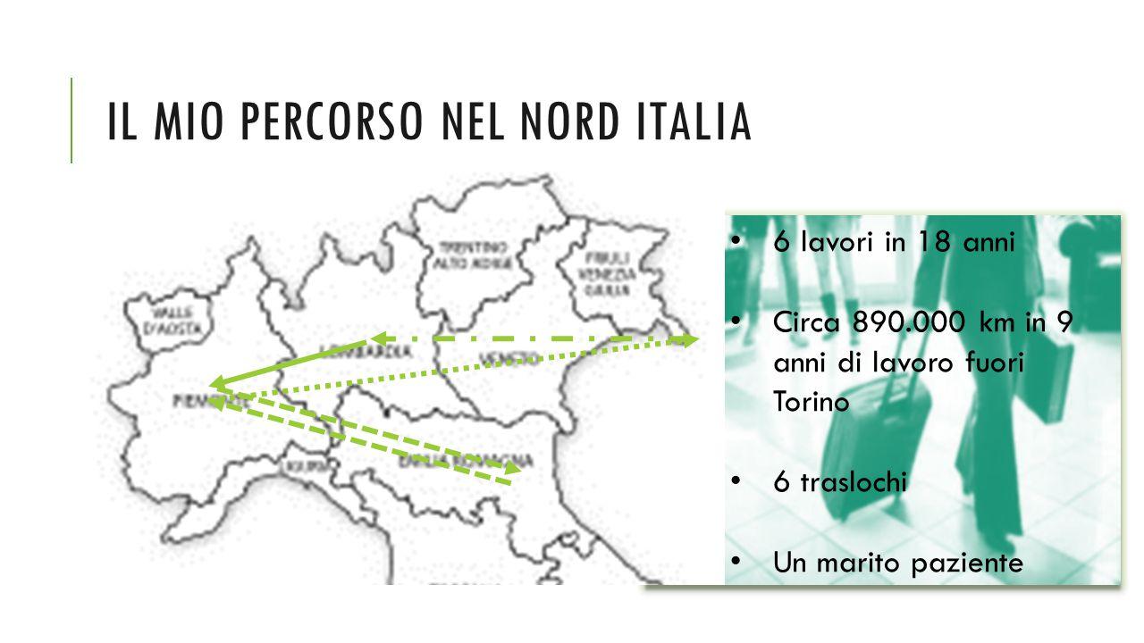 IL MIO PERCORSO NEL NORD ITALIA 6 lavori in 18 anni Circa 890.000 km in 9 anni di lavoro fuori Torino 6 traslochi Un marito paziente