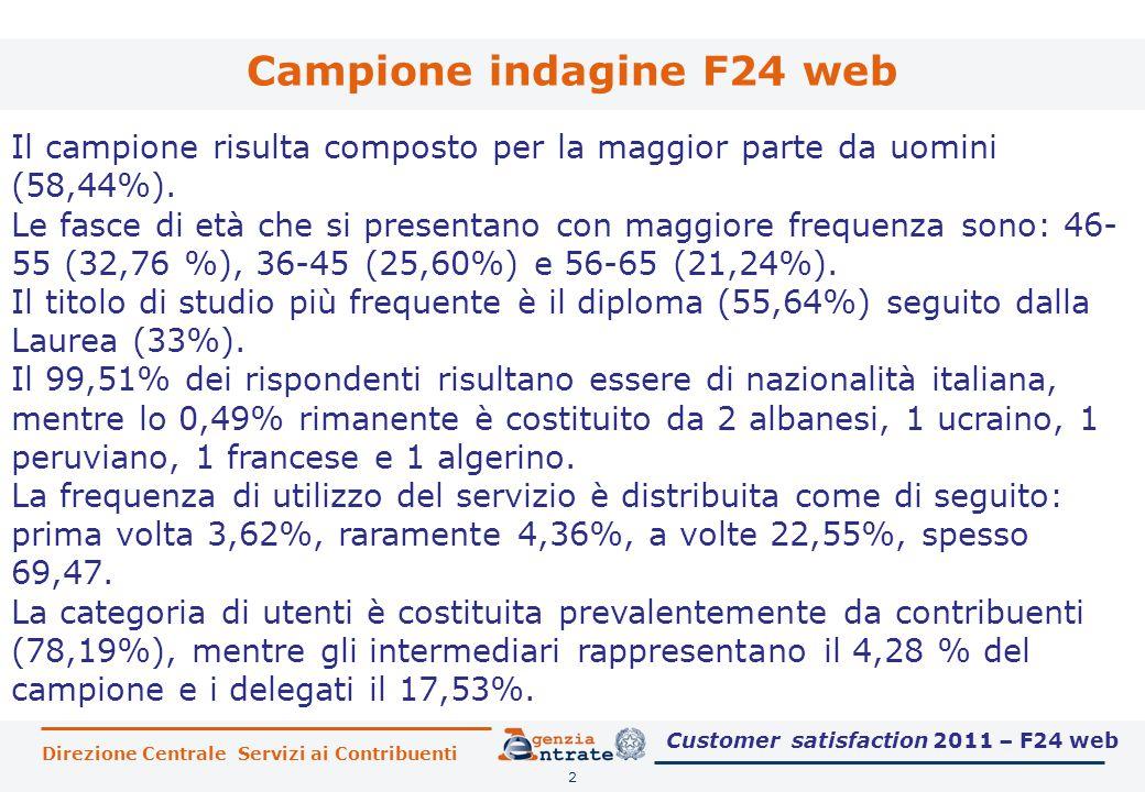 Direzione Centrale Servizi ai Contribuenti Campione indagine F24 web 2 Il campione risulta composto per la maggior parte da uomini (58,44%).