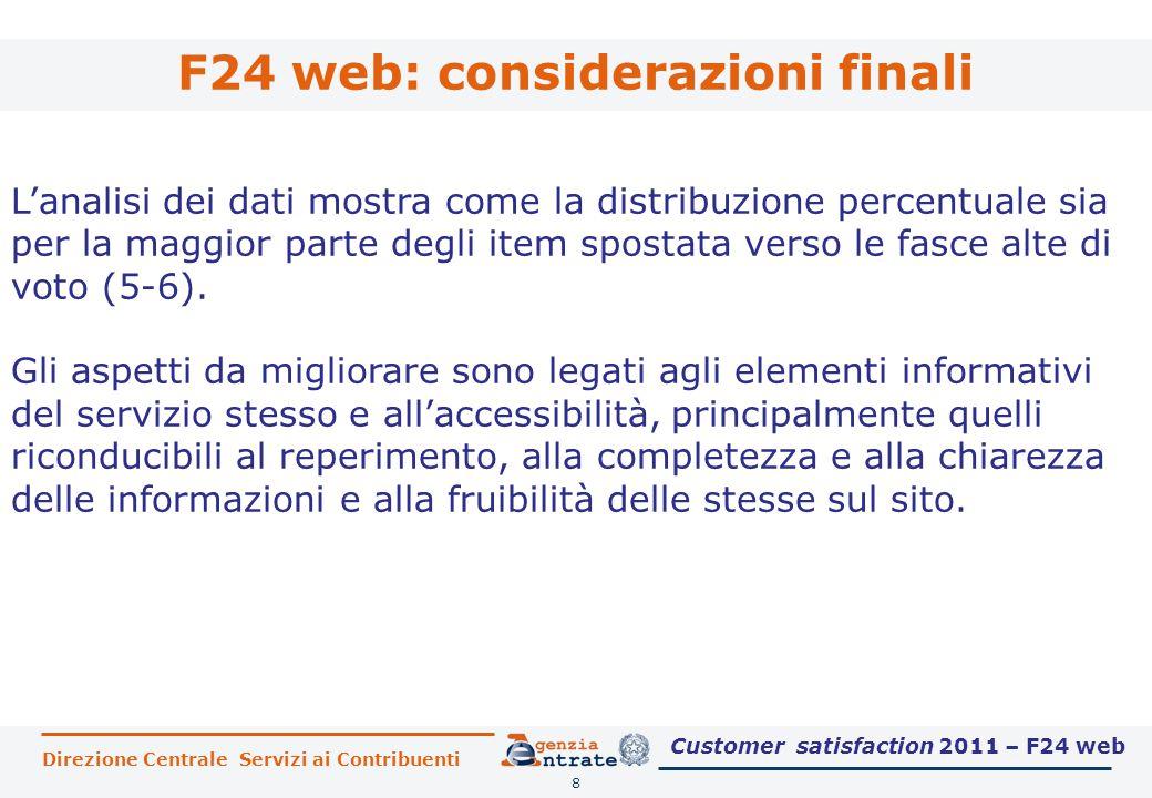 F24 web: considerazioni finali 8 L'analisi dei dati mostra come la distribuzione percentuale sia per la maggior parte degli item spostata verso le fasce alte di voto (5-6).