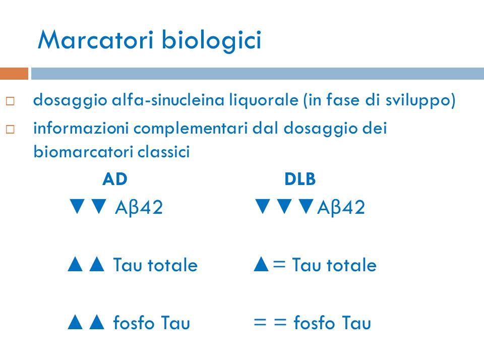 Marcatori biologici  dosaggio alfa-sinucleina liquorale (in fase di sviluppo)  informazioni complementari dal dosaggio dei biomarcatori classici AD