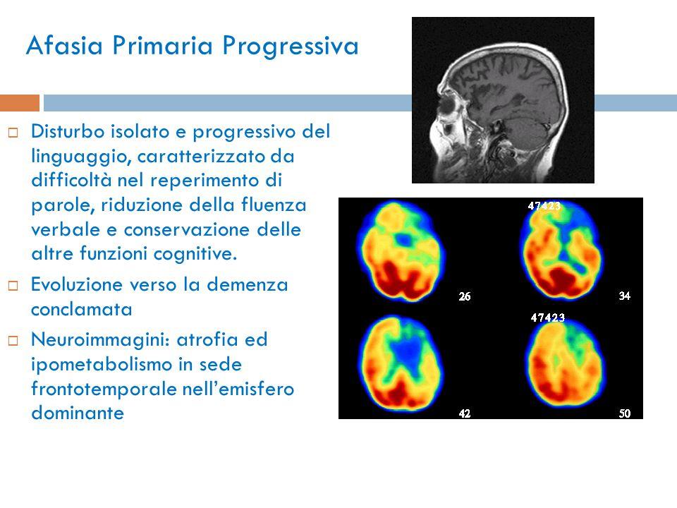 Afasia Primaria Progressiva  Disturbo isolato e progressivo del linguaggio, caratterizzato da difficoltà nel reperimento di parole, riduzione della f